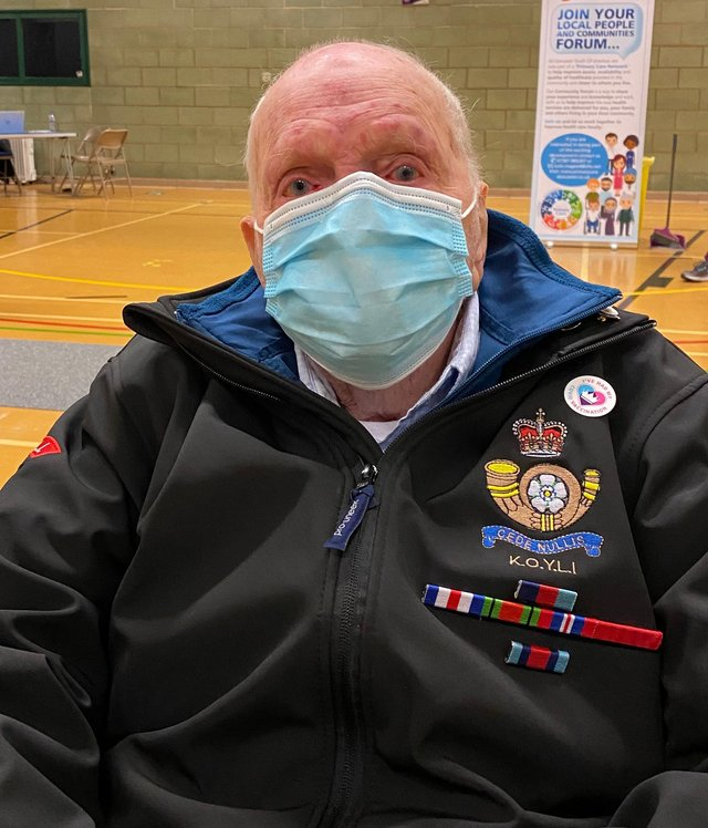 World War Two veteran Fred Adamson, aged 101, received his second dose of covid vaccine at Dearne Valley Leisure Centre.