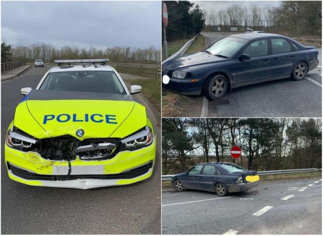 The police car rammed a vehicle after the driver attempted to drive the wrong way down the M18.
