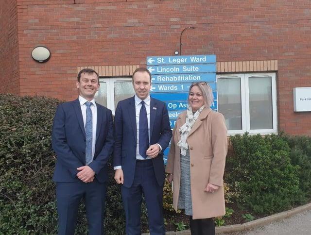 Don Valley MP Nick Fletcher, health secretary Matt Hancock and Conservative DMBC group leader Jane Cox