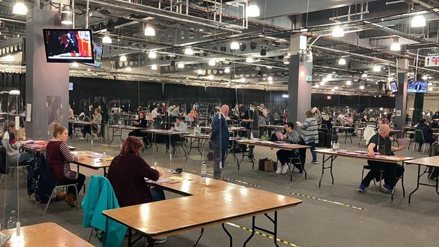 The scene at the count for the Doncaster Council elections at Doncaster Racecourse