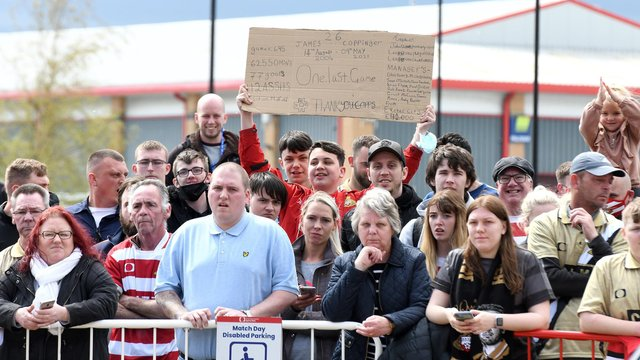 Hundreds of Rovers supporters waited outside the ground for a glimpse of James Coppinger