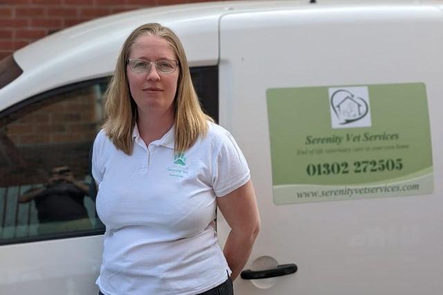 Victoria Gibson, 39, vet. Owner of Serenity Vert Services.