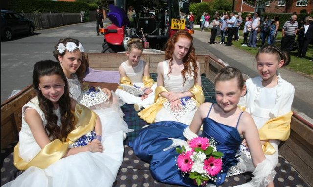 Wadworth school Maypole celebrations L.R from the back Freya Firth age 10, Lilly Chambers age 11, Kiera Smith age 11, Beau Constantine age 11, Molly Claypole age 11, Sophia Slater age 10 (New May Queen).