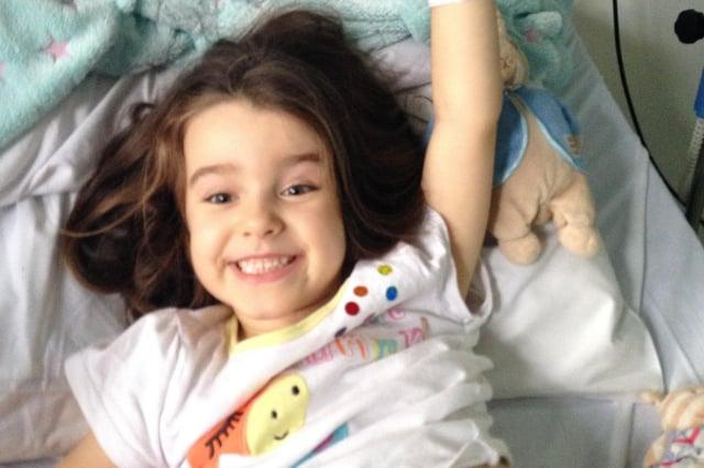 Abigail during treatment at Sheffield Children's