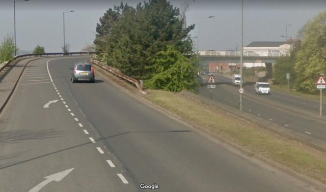 The flyover which crosses Greens Way, Mexborough