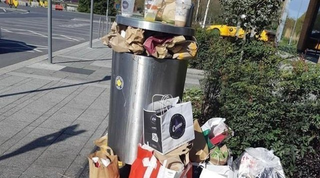 An overflowing waste bin at the Herten Triangle, which has been blighted by litter since opening