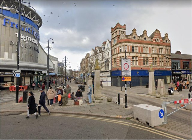 The incident took place in St Sepulchre Gate on Saturday afternoon.