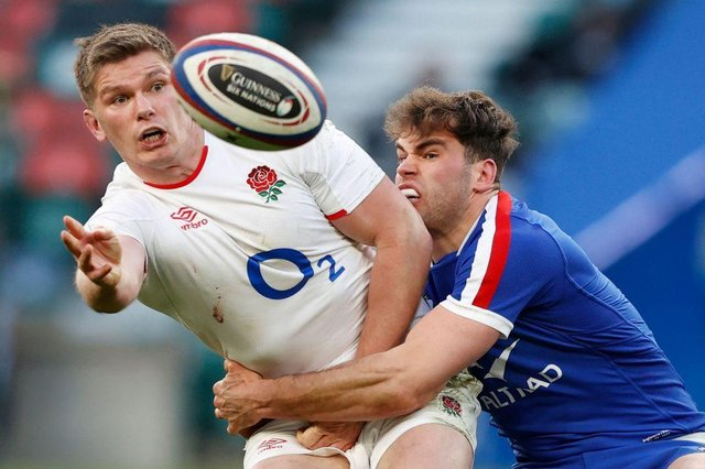 Owen Farrell, England's captain, could turn out for club side Saracens against Doncaster at Castle Park on Sunday. Photo by ADRIAN DENNIS/AFP via Getty Images