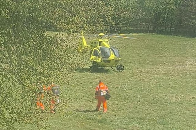 The air ambulance in Cantley Park yesterday
