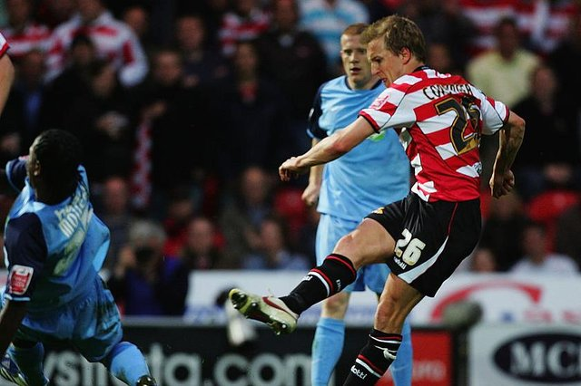 James Coppinger, pictured scoring one of his three goals against Southend in the 2008 League One play-off semi-final. Photo: Matthew Lewis/Getty Images