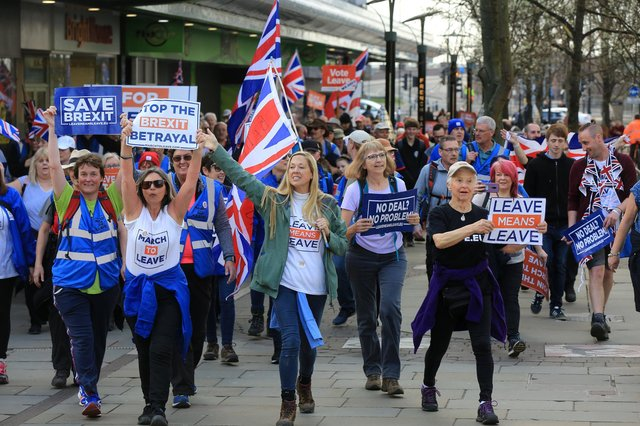 Nigel Farage's March for Leave is currently passing through Yorkshire, with Brexit supporters walking from Sunderland to London. Arriving in Doncaster on Thursday March 21st. Pictuer: Chris Etchells